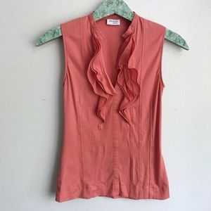 Akris Punto Ruffle Sleeveless Top Blouse G6